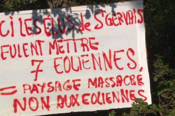 Saint-Gervais (Gard) - des riverains s'opposent à l'implantation de 7 éoliennes - 2019.