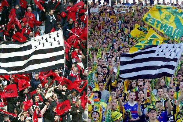 Sentiment d'appartenance à une même région? Le drapeau breton, brandi aussi bien dans le stade de Rennes que dans celui de Nantes, semble l'illustrer