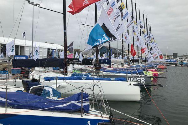 Les Figaros 3 de la Transat en Double au port de Concarneau