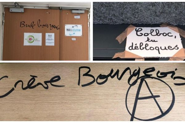 Les inscriptions laissées dans le local de Fabienne Colboc.