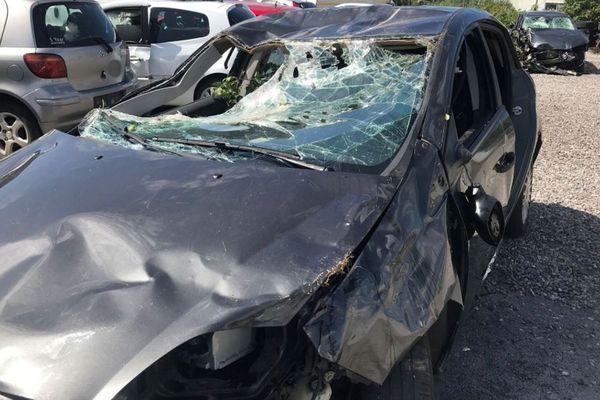 La voiture accidentée de Marie Bastide