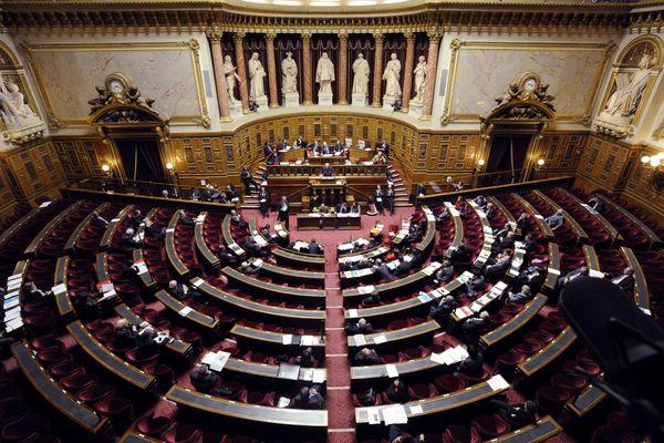 L'hémicycle au Sénat à Paris.