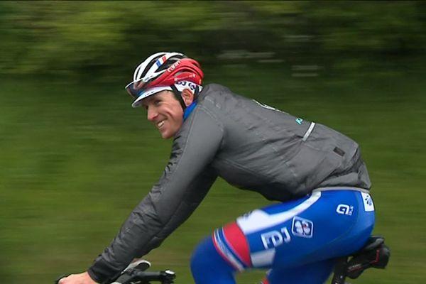 Arnaud Démare s'entraînant avant le Giro, mai 2019