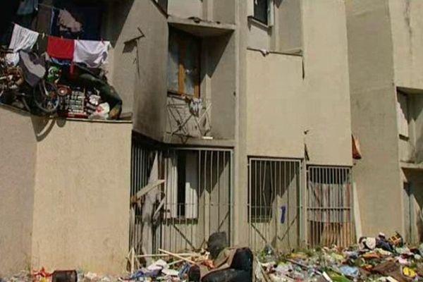 Dans la cour des Castalides, les déchets s'amoncellent.
