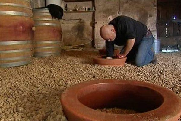 Nicolas Réau travaillant le moult de raisin vieilli en amphore géorgienne .