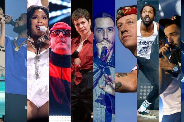 De gauche à droite : Angèle, Damso, Lizzo, DJ Snake, Christine and The Queens, Lomepale, Macklemore, Skip The Use, Bigflo & Oli et Jain.