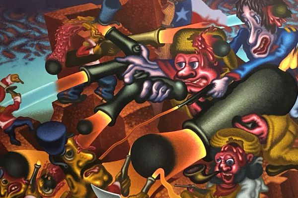 L'Alamo, huile et acrylique sur toile (1990) Exposition  - Pop, Funk, Bad Painting and More - musée Les Abattoirs