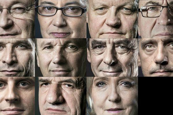 Les onze candidats à l'élection présidentielle 2017 : Jacques Cheminade,  Nathalie Arthaud, François Asselineau, Jean-Luc Mélenchon, Benoît Hamon,   Nicolas Dupont-Aignan, François Fillon, Philippe Poutou, Emmanuel Macron, Jean Lassalle et Marine Le Pen (de gauche à droite et de haut en bas).