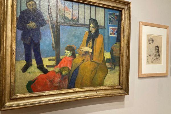"""Des œuvres de Gauguin et leurs croquis permettent de comprendre le travail de l'artiste. Ils sont exposés à Pont-Aven. Ici """"L'Atelier de Schuffenecker"""" peint en 1889, un """"chef d'œuvre éclatant de couleurs"""""""