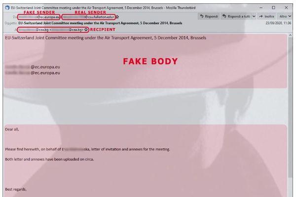 Un exemple de mail frauduleux, apparemment inoffensif, mais qui contient une pièce-jointe infectée