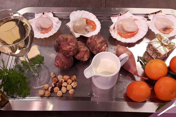 Les ingrédients de noixde Saint-Jacques aux clémentines et topinambours