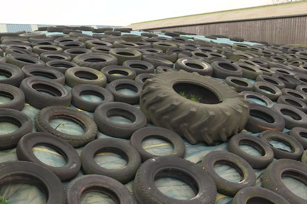 Exemple de pneus posés sur un ensilage de fourrage dans une ferme d'élevage.