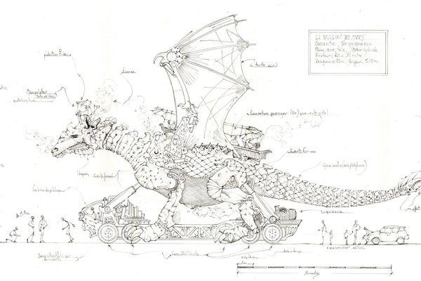 """Le croquis du projet """"Dragon des mers"""" de Calais, par la Compagnie La Machine"""