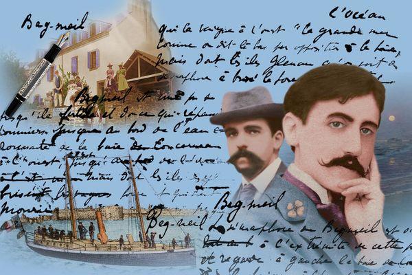 Marcel Proust ( au premier plan) avec son ami Reynaldo Hahn. L'écrivain et le musicien profitent de leurs journées à Beg-Meil pour flâner et lire. Marcel Proust trouvera les lieux très propices à l'écriture.