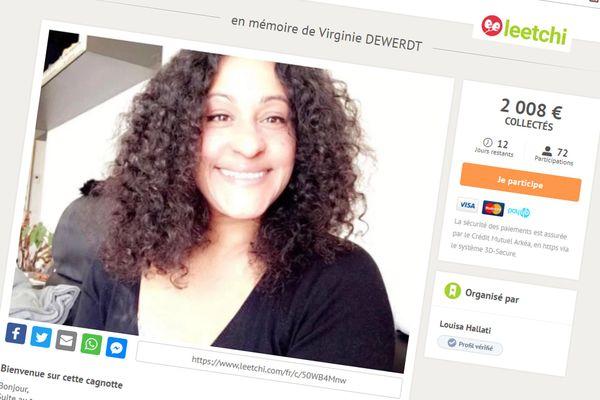 Capture d'écran de la cagnotte Leetchi lancée en mémoire de Virginie Dewerdt