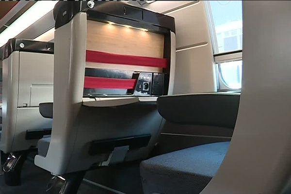 Une partie de l'équipement intérieur du TGV Océane, plusieurs éléments fabriqués en Pays de la Loire.