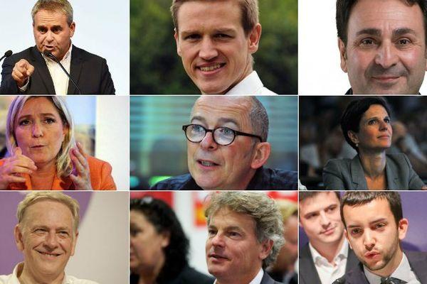 Les 9 têtes de liste pour les élections régionales en Nord Pas-de-Calais Picardie.