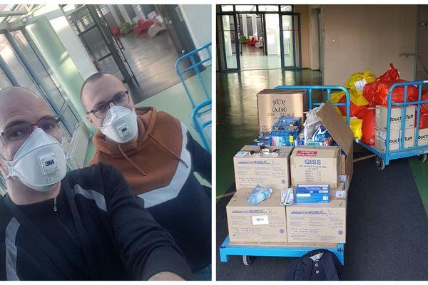 L'infirmier et le gardien de l'établissement ont rassemblé les masques et dispositifs de protection de l'UTBM pour les confier à l'hôpital Nord Franche-Comté