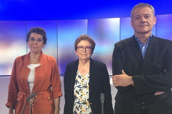 De gauche à droite les 3 candidats pour la mairie de Saint-Flour : Martine Guibert, Christine Meyroneinc et Philippe Delort