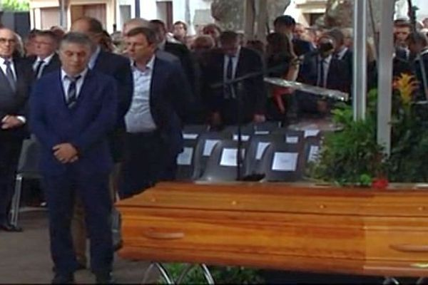 Millas - Robert Navarro, 1er vice-président de la région assurant l'intérim de Christian Bourquin aux obsèques - 29 août 2014.