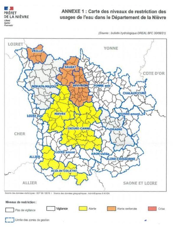 Le détail des 111 communes frappées par l'arrêté préfectoral.