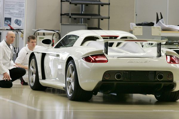 Dans l'usine Porsche de Leipzig (en 2005).
