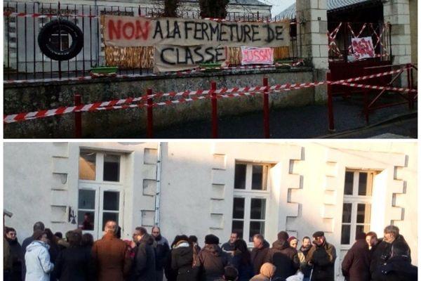 Ce matin, une cinquantaine de personnes étaient présentes devant l'école pour protester.