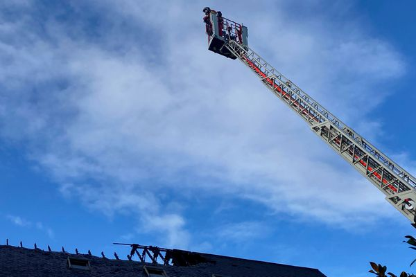 Les pompiers en intervention à Oloron ce vendredi 1er janvier 2021.