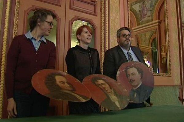 Les 3 médaillons retrouvés ont été présentés à la presse le 18/12/2014 à l'opéra théâtre de Clermont-Ferrand.