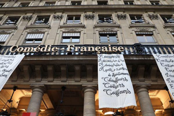 Des manifestants de l Opéra national de Paris et de la Comédie-Française ont mené une action pour protester contre la réforme des retraites et l'utilisation du 49-3 par le gouvernement. Le 1 mars 2020 place la Colette, à Paris.