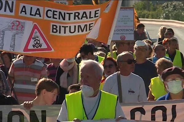 Une manifestation de riverains contre l'implantation de la centrale en octobre 2017.