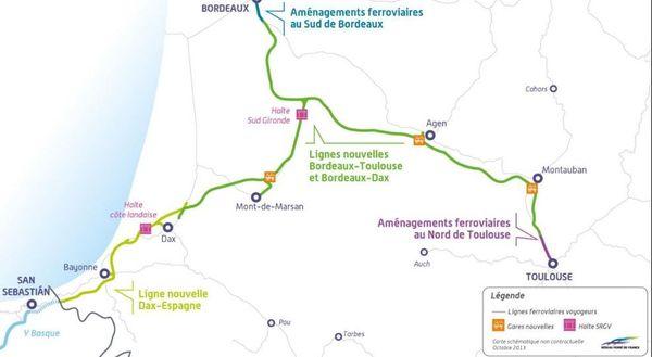 Le projet d'extension de la ligne à grande vitesse au sud de Bordeaux tel qu'il avait été présenté en 2016
