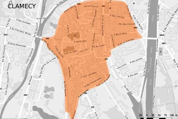 Le port du masque est obligatoire dans le périmètre délimité en orange à Clamecy