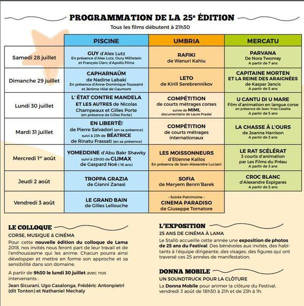 Le programme du festival du film de Lama, édition 2018.