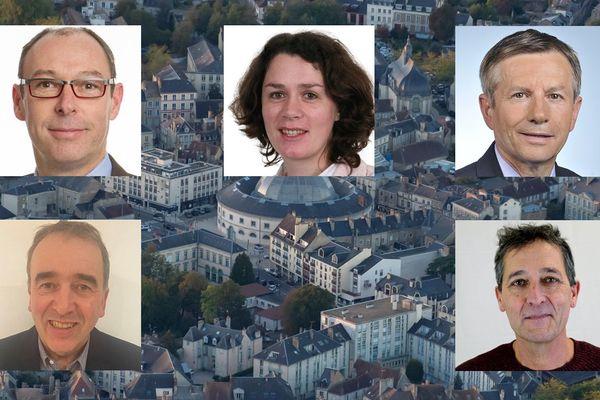 Les candidats aux municipales 2020 à Alençon : Emmanuel Darcissac, Sophie Dpouvry, Joaquim Pueyo, Olivier Toussaint et Pascal Mesnil