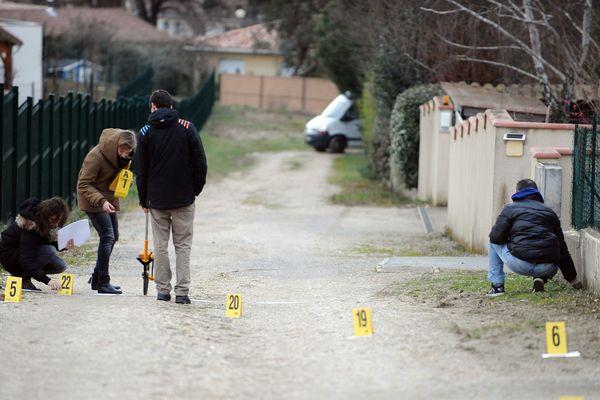 La scène du meurtre, dans une impasse de Bouloc.