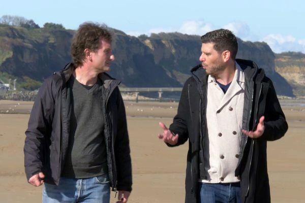 Jean Depelley et Jérémy Kirby sur les plages du débarquement de Normandie