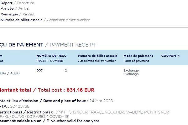 La compagnie Air France propose des avoirs valable 12 mois pour les voyages annulés pour cause de coronavirus.