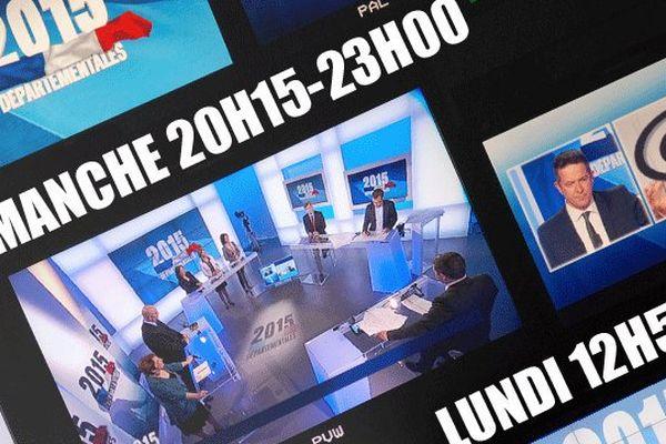 Soirée complète de résultats et débats pour le second tour des élections départementales 2015 sur l'antenne et Internet de France 3 Basse-Normandie