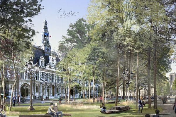 Le parvis de l'Hôtel de Ville fait partie des quatre « lieux emblématiques » concernés par le projet de « forêts urbaines ».