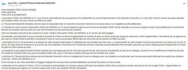 L'annonce de l'association sur les réseaux sociaux sur la décision du Tribunal Administratif de Marseille de suspendre le délibéré de la faculté de médecine concernant les places pour les premières années de la rentrée prochaine.