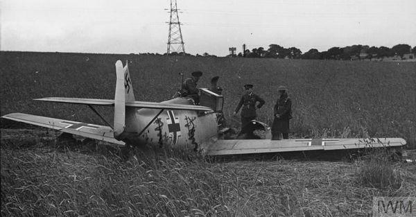 Le Messerschmitt Bf109 de Werner Bartels abattu à Northdown, près de Margate, le 24 juillet 1940.