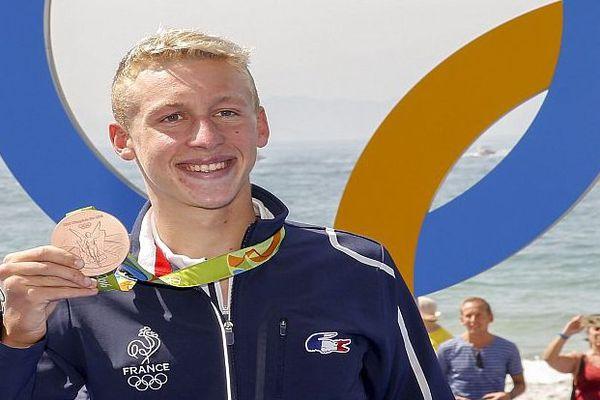 Rio - Marc-Antoine Olivier qui s'entraîne à Narbonne obtient la médaille de bronze de marathon en eau libre - 16 août 2016.