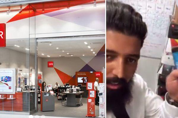 L'agence SFR de Villeneuve d'Ascq. Extrait de la vidéo Periscope tournée par deux employés.