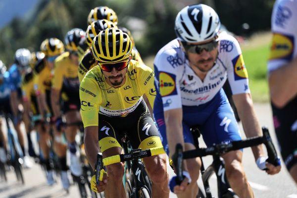 Le maillot jaune du Tour de France Julian Alaphilippe lors de l'étape Sisteron-Orcières-Merlette, ce 1er septembre.
