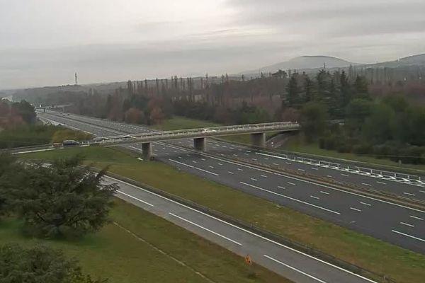 Webcam de l'autoroute A7, ce matin à 10H23
