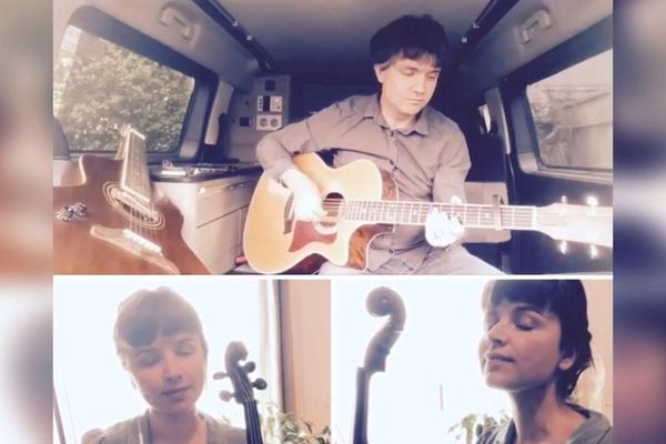 L'artiste Shubni confiné mais en répétition dans son van, avec la violoniste Pauline Denize en webcam.