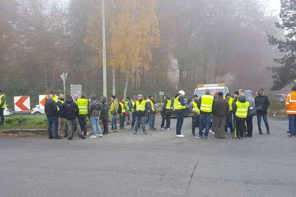 Blocage d'un site Total à Feluy en Belgique.