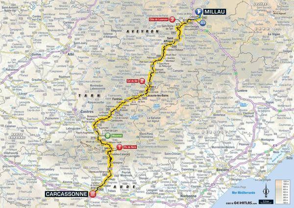 La carte de la 15e étape du Tour 2018