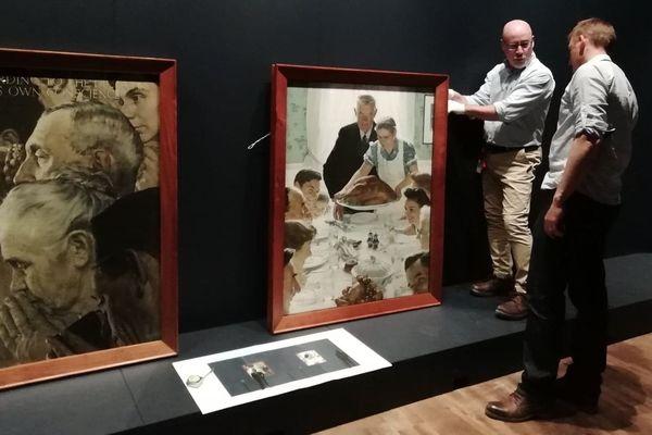 """""""Les Quatre libertés"""", les fameux tableaux de Norman Rockwell sont arrivées au Mémorial de Caen."""